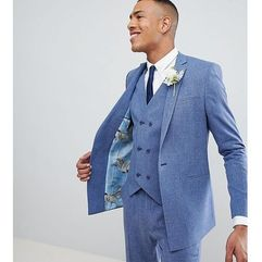 ASOS DESIGN Tall Wedding Skinny Suit Jacket In Provence Blue Cross Hatch With Printed Lining - Blue, kolor niebieski