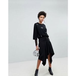 Stradivarius plain hanky hem skirt - black