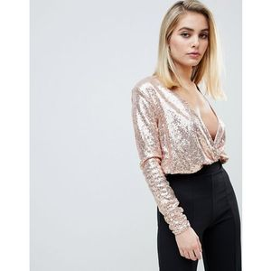 Club l sequin plunge wrap bodysuit - red marki Club l london