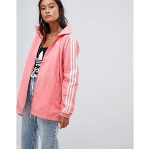 Adidas Originals Three Stripe Hooded Jacket In Pink - Pink