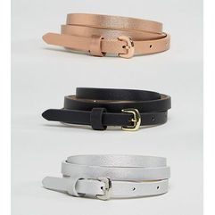 3 pack metallic waist and hip belts - multi marki Asos