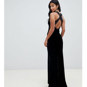 TFNC Petite velvet maxi dress with cross back and inserted lace in black - Black