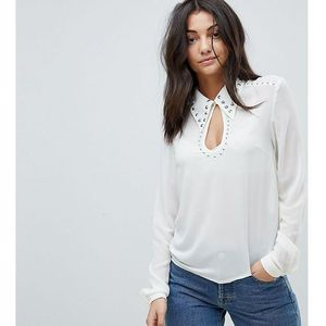Glamorous tall long sleeve top with studded keyhole detail - white