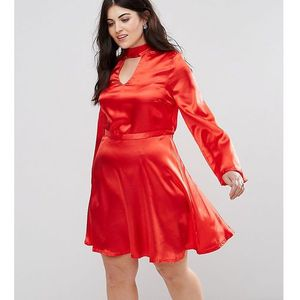 satin choker skater dress - red, Club l plus