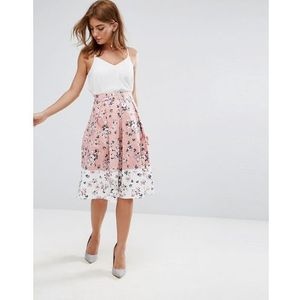 Vesper midi skirt in floral print with contrast border - pink
