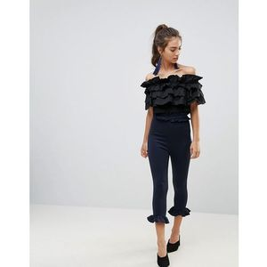 Lasula Double Frill Waistband Frill Bottom Pants - Navy, kolor niebieski