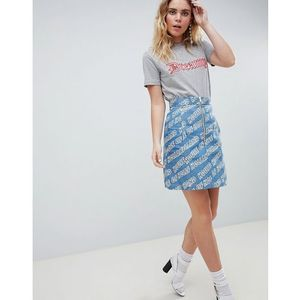 House of holland logo printed denim mini skirt - blue