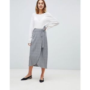 Gestuz Danielle check wrap midi skirt - Grey