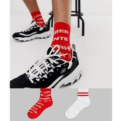 Asos design co-ord sport socks with 'lover' slogan print 2 pack multipack saving - red