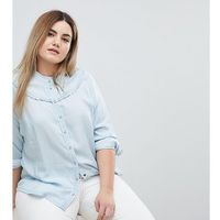 Zizzi collarless denim shirt - blue